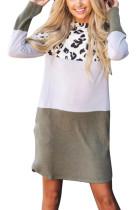 Vihreä leopardivärilohko Splicing pitkähihainen puuvilla mini mekko
