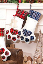 Blue Dog Claw Bone Shape Christmas Plaid Print Hanging Sock