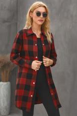 Rød Turn-down Collar Plaid Shirt Coat