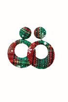 Green Plaid Texture Christmas Circle Earrings