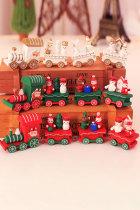 Рождественский подарок украшение праздника зеленый деревянный поезд