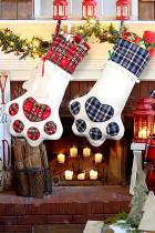Red Dog Claw Bone Shape Christmas Plaid Print Hanging Sock