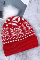 Červená vánoční tištěná pletená čepice
