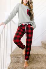 Rød Plaid Snor Loungewear Set med lomme