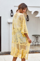 Žluté květinové krajky Kimono