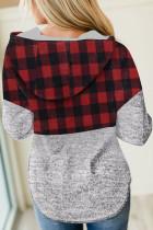 Red Plaid Splicing Pocketed Grey Hoodie
