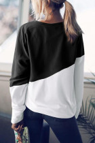 Black Patchwork Dropped Shoulder Sleeve Genser