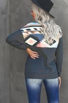 Turn Down Collar Zip Tribal Print Sweatshirt