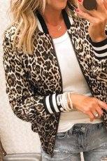 Geacă scurtă cu guler cu fermoar și leopard