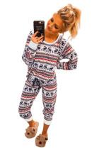 Reindeer Run Print Langermet topp- og snørebukse Loungewear Set