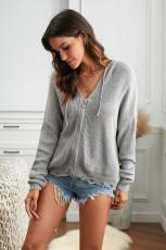 Grå glidelås, V-utringet, hette, hette, solid genser