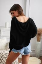 Svart glidelås, v-hals, hette med hette, solid genser