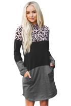 Leopardiväripatruunan yhdistävä pitkähihainen puuvillainen mini-mekko
