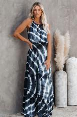 Платье макси со сборками синего цвета с принтом тай-дай и мечтой