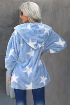 Nebesky modrý klopový límcový rozptylový hvězdný fuzzy kabát