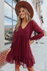 V-Neck Dotted Burgundy Empire Dress