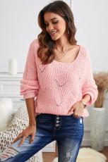 Lyserød udhulet rund halsstrikket sweater