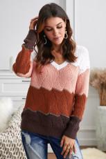 Pletený svetr s texturou a barevným výstřihem do V