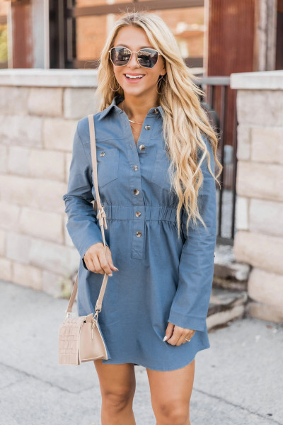 Sky Blue Button Elastic Waistband Shirt Mini Dress