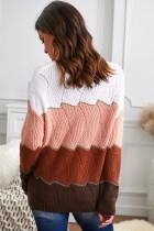 Sweater Rajut Bertekstur Colorblock Leher V Putih