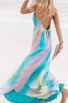 لباس ماکسی راه راه آلو شکر آبی آسمانی