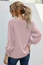 V-hals Blonder Patchwork Pink Bluse