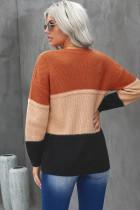 Oranje kleur blok gesaldeerd textuur pullover trui