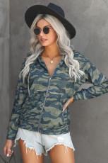 Olive Camo Print Zip Up Hooded Jacket