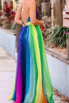 فستان ماكسي مخطط برقوق السكر متعدد الألوان