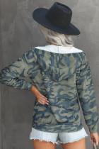 Bunda s kapucí se zapínáním na olivový kamufláž