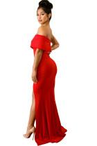 Κόκκινο από το ώμο Ένα μανίκι Slit Maxi Party Dress φόρεμα