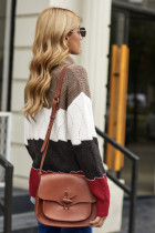 Sweater Red Turtle Neck Color Block Fluffy Twist