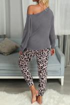 Grå Casual Langermet Leopard Pants Loungewear Set