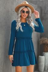 Gaun Mini Ayunan Padat Biru Lengan Panjang Mengacak-acak