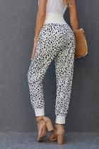 Calça casual de bolso leopardo com fenda