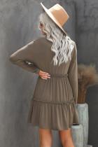 فستان قصير سادة بأكمام طويلة مكشكش