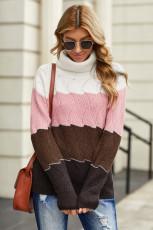 Sweater Merah Muda Turtle Neck Color Block Fluffy Twist