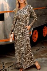 لباس ماکسی آستین بلند جیبی پلنگی