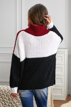 Black Cowl Neck Colorblock Cable Knit Sweater