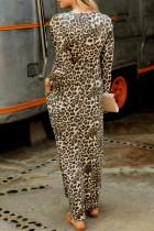 فستان ماكسي بجيب ليوبارد