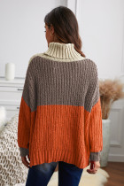 Orange Cowl Neck Colorblock Cable Knit Sweater