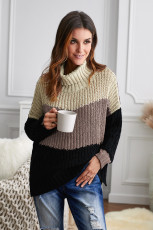 Khaki Cowl Neck Colorblock Cable Knit Sweater