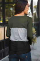 Green Accent Color Block Knit Long Sleeve Top