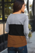 Gray Accent Color Block Knit Long Sleeve Top