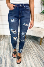Dark Blue Leopard Patch Distressed Skinny Jeans