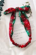 Kerst groen rood geruite sneeuwvlok print strik hoofdband
