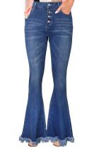Расклешенные джинсовые джинсы с потрепанным краем