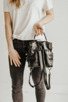 Черный повседневный универсальный рюкзак на молнии с бахромой