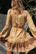Gaun Mini Tunik Lengan Panjang V-neck Floral Print