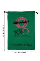 Зеленая рождественская подарочная холщовая сумка на шнурке от лося